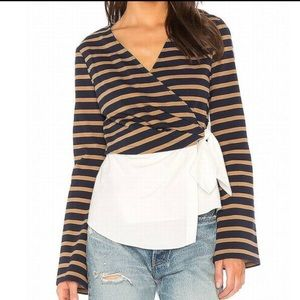 Derek Lam 10 Crosby Combo Striped Wrap Blouse Sz 2